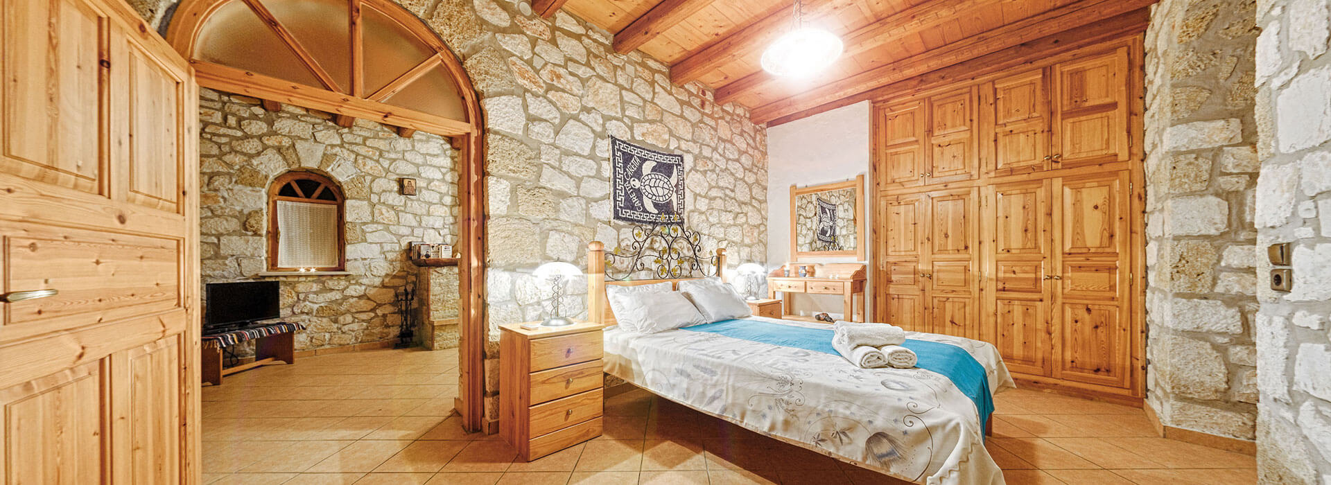 deluxe three-bedroom apartment - joanna's traditional stone villas - vasilikos zante zakynthos greece